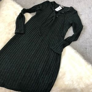NWT Charlotte Russe ribbed lace up bodycon sz.L